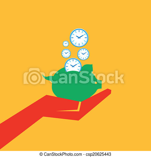 Save time concept with piggy bank  - csp20625443