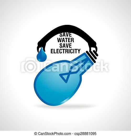 Save Water Concept Electricity Idea Eps Vectors