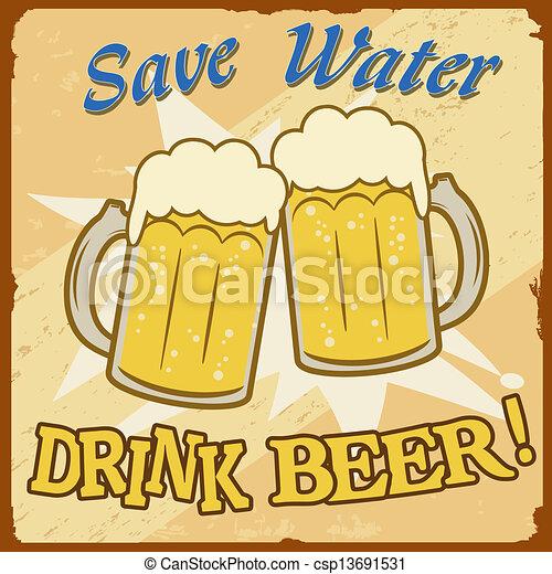 Save Water Drink Beer Vintage Poster