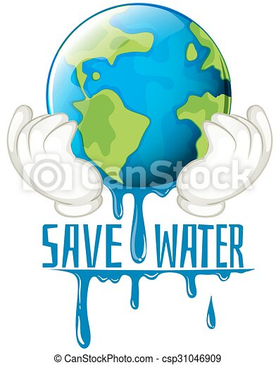 Save Water Sign With Earth Melting Illustration