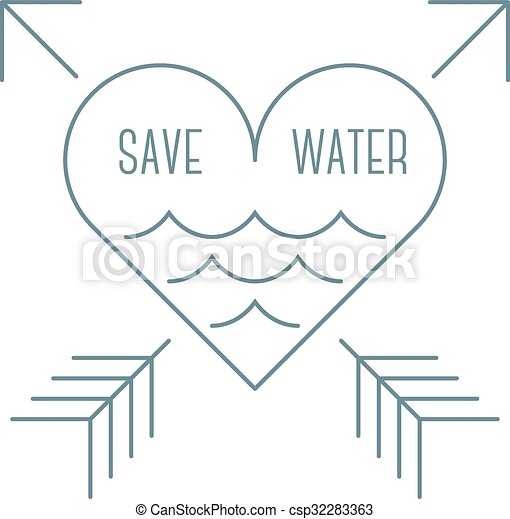 Save water symbol Simple outline save water sign heart with two