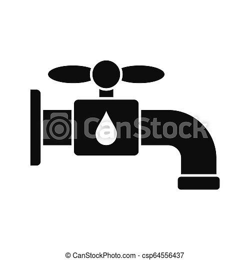 Save water tap icon, simple style - csp64556437