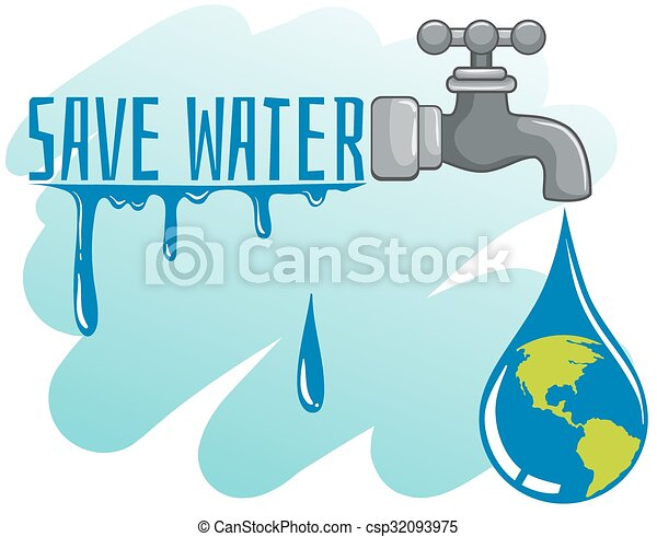Save water theme with earth and faucet illustration vectors ...