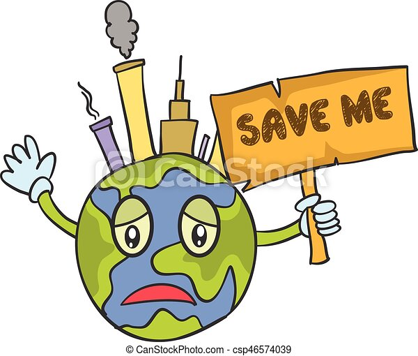 Save World Cartoon Design Vector Art Illustration