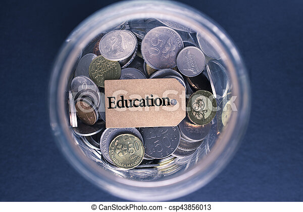 Saving Concept : Education label with coins in the glass - csp43856013
