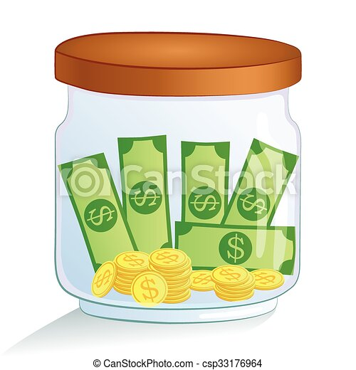 Saving money jar. vector illustration. Saving money glass ...