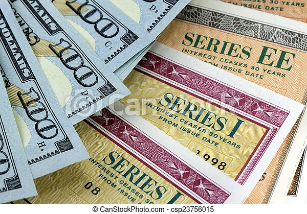 Savings Bond with American Currency - csp23756015