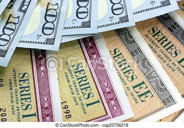 Savings Bond with American Currency - csp23756219