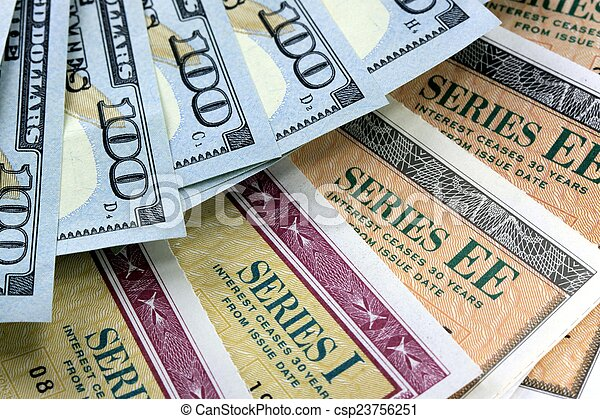 Savings Bond with American Currency - csp23756251