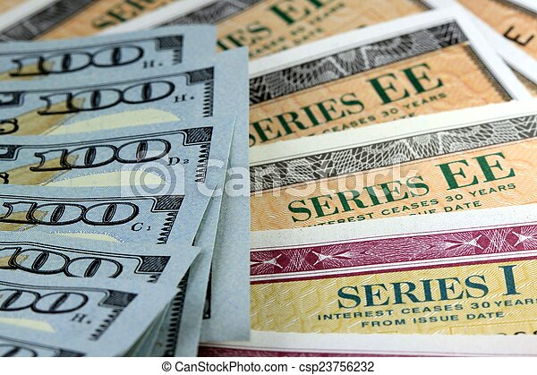Savings Bond with American Currency - csp23756232
