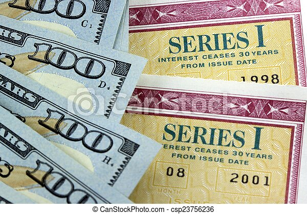 Savings Bond with American Currency - csp23756236