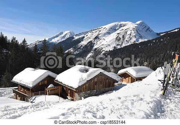 Savoie village in winter - csp18553144