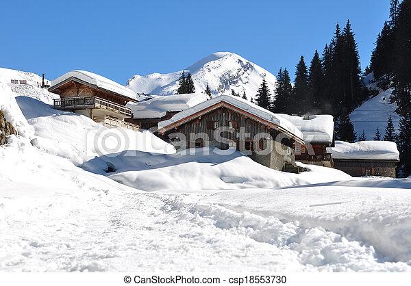 Savoie village in winter - csp18553730
