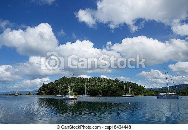 Savusavu harbor, Vanua Levu island, Fiji - csp18434448