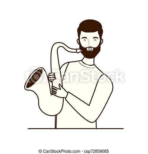 Silueta de hombre con saxofón en fondo blanco - csp72859085