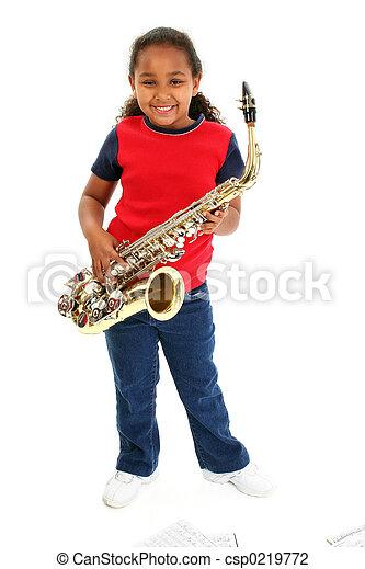 La niña del saxofón - csp0219772