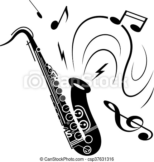 saxophone music concept saxophone music illustration black rh canstockphoto com  sax clipart black and white