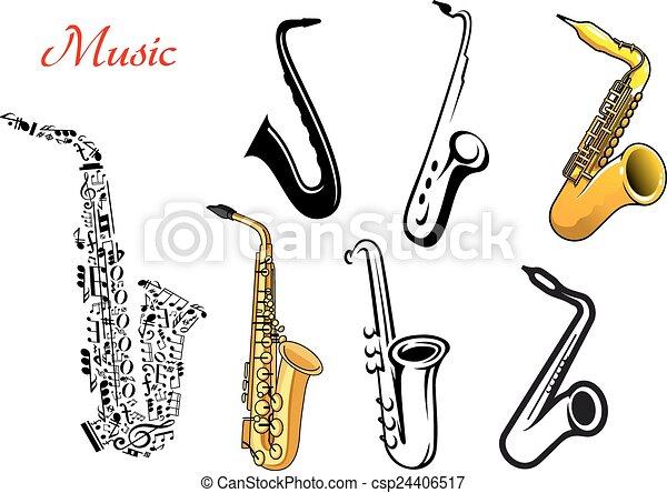 Dessin Saxophone saxophone, musique, dessin animé, instruments. instruments, notes