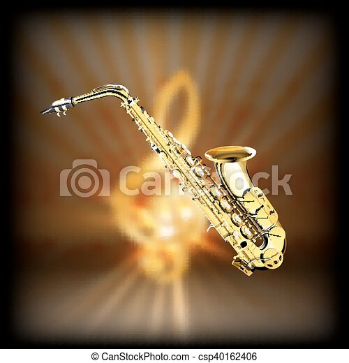 Saxophone on a blurred background treble clef - csp40162406