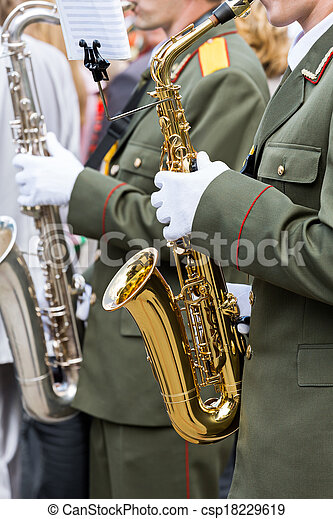 Saxophone players in a military band - csp18229619