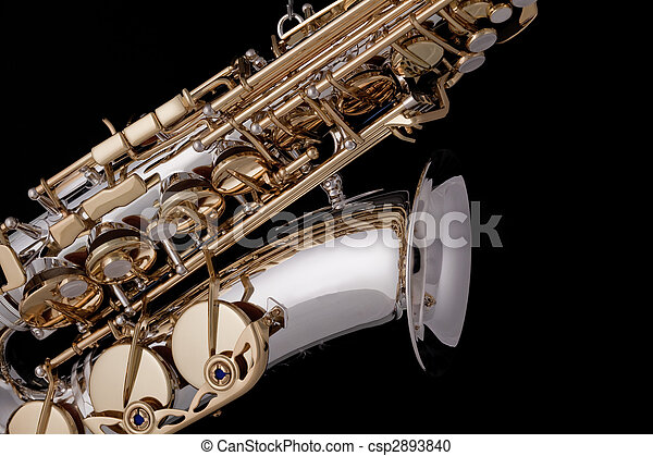 Saxophone Silver Gold Isolated Black - csp2893840