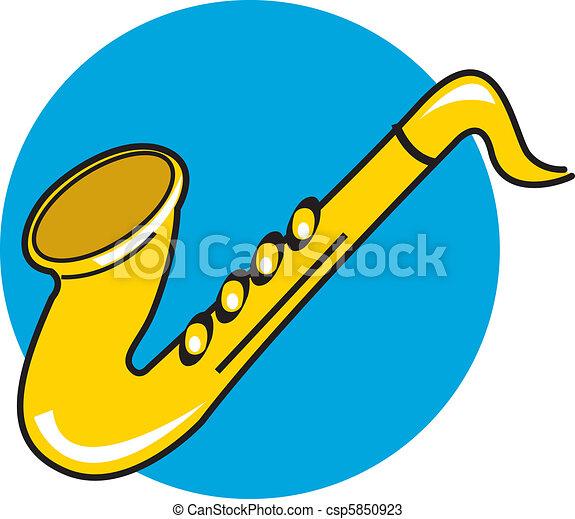 Dessin Saxophone dessin animé, saxophone, amusement, style., ou, cartoony.
