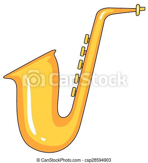 Dessin Saxophone saxophone. golden saxophone in simple doodle line.
