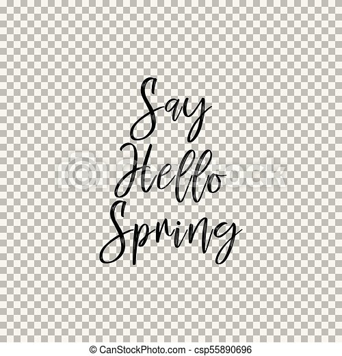 Say Hello Spring  Transparent background