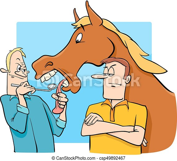 Saying looking a gift horse in the mouth cartoon cartoon humorous saying looking a gift horse in the mouth cartoon csp49892467 negle Images