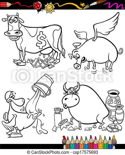 Sayings Cartoon Set for coloring book - csp17575693