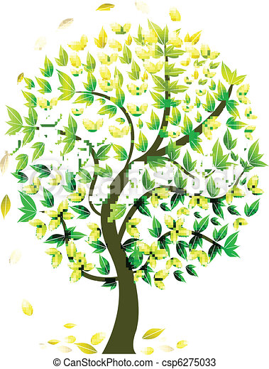 sazonal, abstratos, árvore - csp6275033