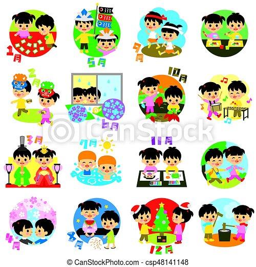 sazonal, calendário, crianças, eventos, japão - csp48141148