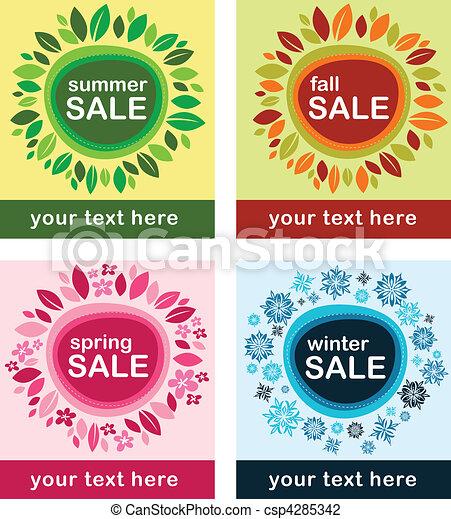 sazonal, cartazes, vendas - csp4285342