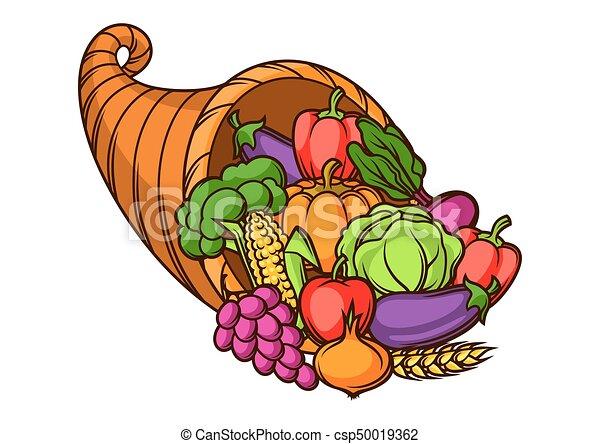 sazonal, cornucópia, legumes, .autumn, ilustração, frutas, colheita - csp50019362