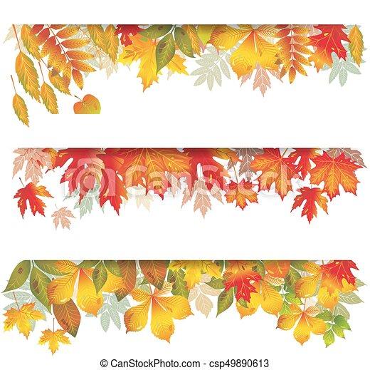 sazonal, folhas, bandeiras, outonal - csp49890613