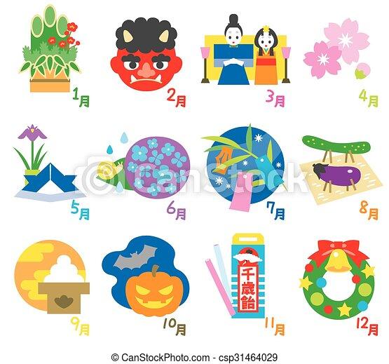 sazonal, japão, 3, calendário, eventos - csp31464029