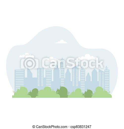 scène, cityscape, icône, urbain, bâtiments - csp83831247
