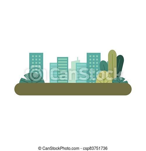 scène, cityscape, urbain, parc, bâtiments - csp83751736