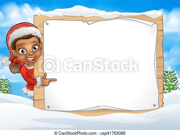 scène, elfe, neige, signe, noël, paysage - csp41763068