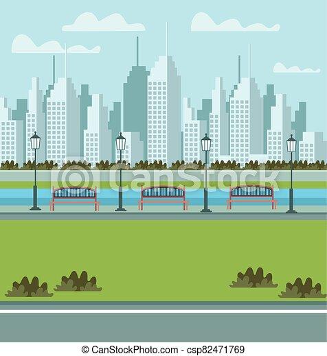 scène, parc, urbain, cityscape - csp82471769