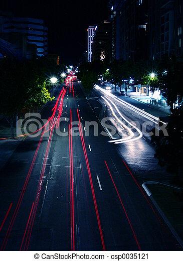 scène rue, nuit - csp0035121