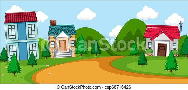 scène rurale, village - csp68716426