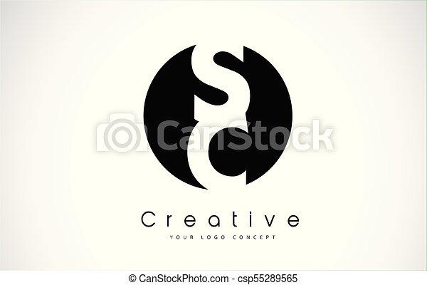 Sc Letter Logo Design Inside A Black Circle