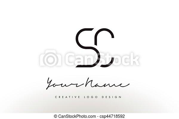 Sc Letters Logo Design Slim Creative Simple Black Letter Concept