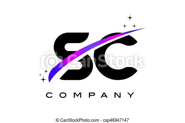 Sc S C Black Letter Logo Design With Purple Magenta Swoosh