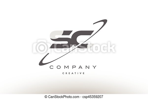 Sc S C Swoosh Grey Alphabet Letter Logo
