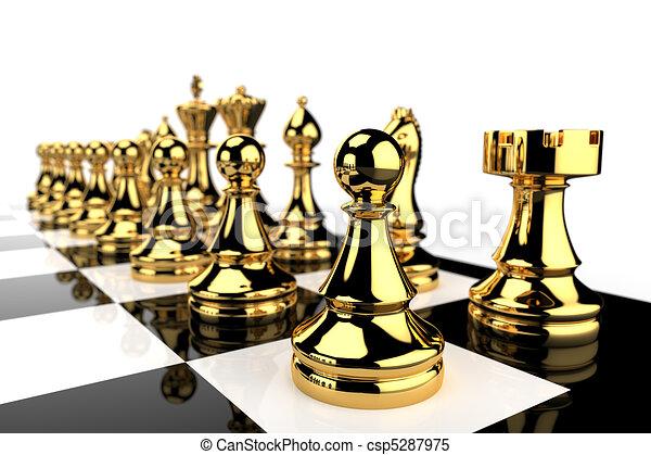 scacchi, dorato, pezzi - csp5287975