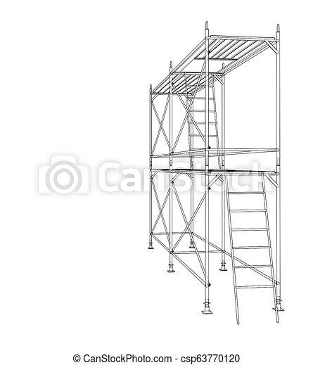 scaffold., アウトライン, イラスト, 3d - csp63770120