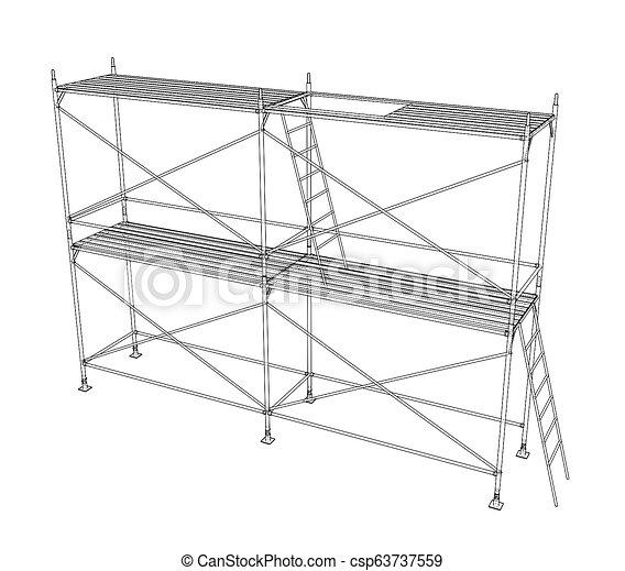scaffold., アウトライン, イラスト, 3d - csp63737559
