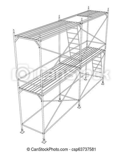 scaffold., アウトライン, イラスト, 3d - csp63737581